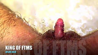HD: UNDERWATER BATH Wank Off, With LARGE FTM Transman Dinky..