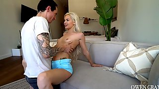 Tattooed Man With Huge Cock Fucks Petite Blonde Elsa Jean In Mouth And Pussy