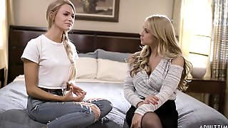 Horny Lesbian Girl Gives A Cunnilingus To Seductive Blond Babe Sarah Vandella
