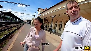 HUNT4K. Elegant Coquette Makes Money For Train Using Her Sexy Body