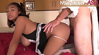Filipina Maid With Huge Natural Boobs Fucks Her New Boss
