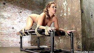 Master Dp Fingers Tied Brunette Slave