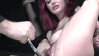 Real Pale Redhead Lola Fae Is Tied Up And Masturbated Rather Hard