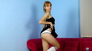 Teen Coquette Marta Lovely Shows Pussy Upskirt And Masturbates