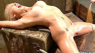 Big-Bosomed Babe Gets Vibrated In Suspension