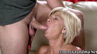 Horny Gran Gets Facial Giving Head