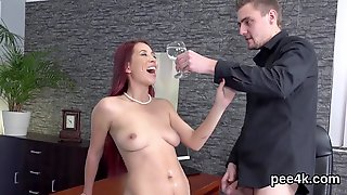 Adorable Centerfold Gets Her Slim Pussy Full Of Warm Pee And Bursts