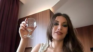Hot Glamour MILF Drinks Wine And Sucks Dick