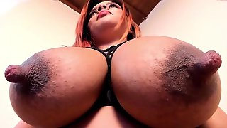 Exotic Brunette Bhiankha Exposing Her Giant Melons With Big Protruding Nipples