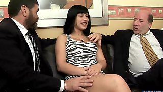 Black Haired Teen Fucks With Two Men