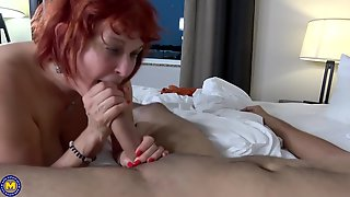 Red Haired Granny, Angie Summers Cant Stop Sucking Her Young Neighbors Dick, Because It Feels Good