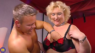 Horny Blonde Granny, Sonja Is About To Have Hardcore Sex, With A Younger, Handsome Dude