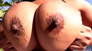 Ebony With Enormous Melons And Big Round Butt Takes Big Black Dick In All Poses