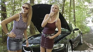 Two Sexy Ladies Thanked A Guy For A Car Repair