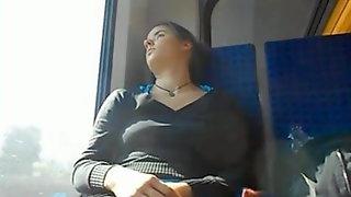 Brunette Teen Sleeping On The Train