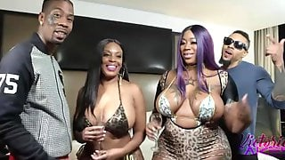 Two Phat Ass Ebonies - Group Orgy With Big Black Tits