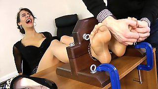 Hot Secretary Angelina Teases & Gets A Relentless Tickle Session!
