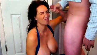 Voluptuous Mom Deepthroats A Big Shaft And Gets Facialized