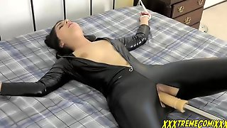 Smoking Hot Brunette In Latex Outfit Got Tied Up And Fucked Until She Had An Orgasm