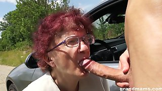 Nerdy Mature Redhead Is So Happy To Give A Proper Blowjob Outdoors