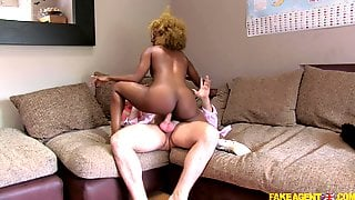 Casting Ebony Babe Rides The White Stick With Passion
