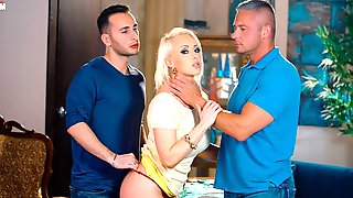 Awesome Blonde With Big Boobs Christina Shine Screwed By Two Hard Dicks