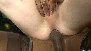 Big-Tits Black T-girl Dancer Fucks Man