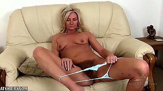 Fit, Mature Blonde Is Wearing Lacy Panties While Doing Her Workout And Masturbating Once She Is Done