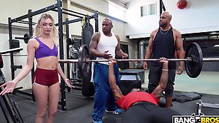 Cute White Girl Interrupts A Workout And Ends Up Getting Fucked By Black Men