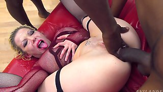 Mature Gags With The BBC During Insane Anal Gang Bang