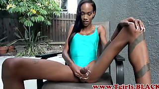 Skinny Ebony Shemale With A Massive Schlong Jerks Off Outdoors