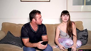 Shy Teen Brunette, Luna Rival Is About To Have Sex With A Married Man From The Neighborhood