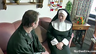 Nasty Nun Couldnt Resist Sucking A Stiff Dick And Riding It Until She Experienced An Orgasm