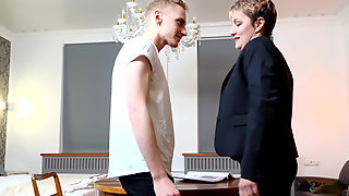 Mature Tutor Jannie Hard Makes Her Student Extra Stiff