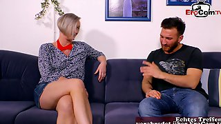 German Mature Blonde Mom Seduced From Younger Guy