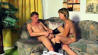 German Skinny Mature Milf Seduced Younger Guy
