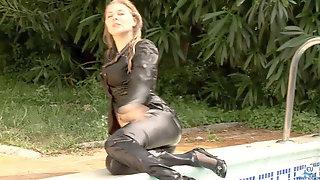 Ash-blonde Wetlook In Silk & Satin Clothes