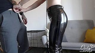 Spandex Pet Tramp On Leash Makes Me Jizm Twice