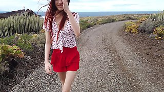 Lewd Red Haired Babe Sherice Is Playing With Stretched Pussy Labia And Big Clit