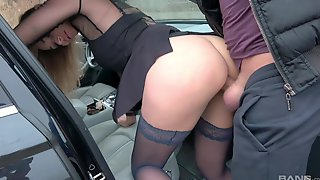 Amazing POV Video Of Stunning Katsiaryna Having Sex In The Car