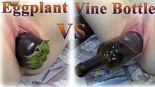 Super Extreme Insertion! Drink Wife Fuck Herself By Very Huge Eggplant And Bottle Of Vine!