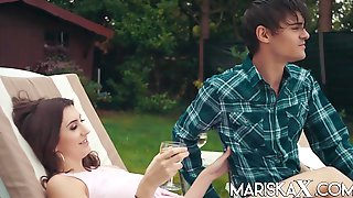 Lina Luxa - French Teen Fucks Her Bf In The Garden In HD