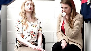 Teen Thief Is Sucking A Thick Cock In Front Of Her Naughty Stepmother.