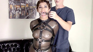 Sahrye Gets Ball Ring And Pump Gagged In Catsuit