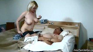 Blonde Busty Slut Helping Grandpa To Feel Better