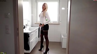 Ash-Blonde Doll Is Having Rectal Hookup With Her Fresh Co- Employee And Even Getting A Golden Bathroom