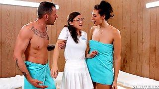 Kinky Sex Addicts Throw A Hot Threesome Scene In Sauna