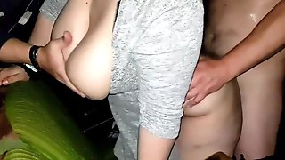 Big-Titted, First-timer Lady Is Getting Screwed From The Back, In The Cinema And Attempting Not To Groan