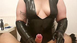 New Black Latex Sundress Hand Job With Black Latex Gloves - Ample Cumshot