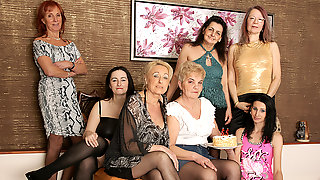 Three Old And Young Lesbians Go Nuts At A Party - MatureNL